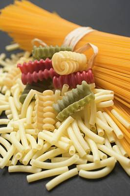 A Bundle Of Spaghetti And Various Types Of Coloured Pasta Art Print