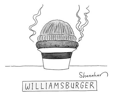 A Burger Is Steaming Between A Beanie Art Print