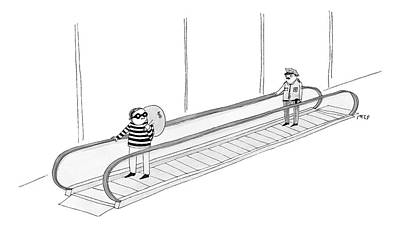 Thieves Drawing - A Burglar Is On A Moving Walkway Holding A Bag by Edward Steed