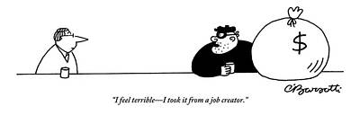 Drawing - A Burglar With A Large Bag Of Money Talks by Charles Barsotti