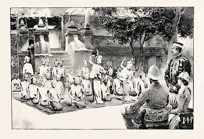 Burmese Python Drawing - A Burmese Ballet, Burma by English School