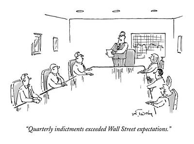Indictment Drawing - A Businessman At The Head Of A Conference Table by Mike Twohy