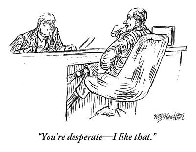Interview Drawing - A Businessman Interviewing Another by William Hamilton