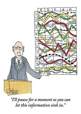Chart Drawing - A Businessman Stands Behind A Podium by Gahan Wilson