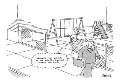 Playground Drawing - A Businessman Walks Away From A Playground by Jack Ziegler