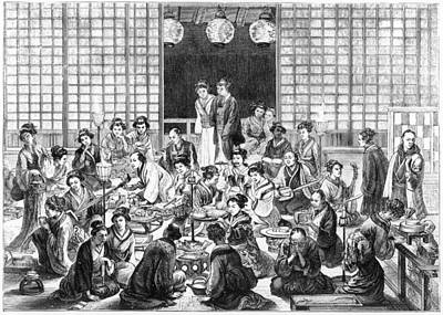 A Bustling Japanese Restaurant  Scene Art Print by Mary Evans Picture Library