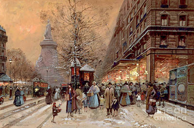 Winter Scene Painting - A Busy Boulevard Near The Place De La Republique Paris by Eugene Galien-Laloue