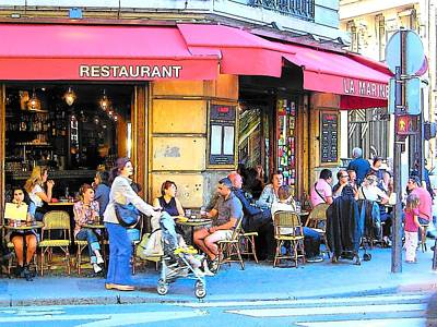 French Street Scene Digital Art - A Busy Corner In Paris by Jan Matson