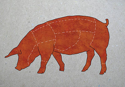 Digital Art - A Butchers Diagram Of A Pig by Malte Mueller