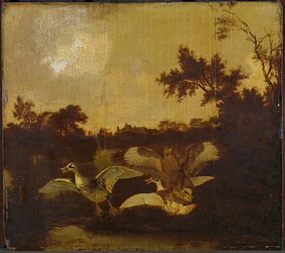 Buzzard Drawing - A Buzzard Attacks Two Ducks, Dirck Wijntrack by Litz Collection