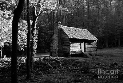 Log Cabin Art Photograph - A Cabin In The Woods Bw by Mel Steinhauer
