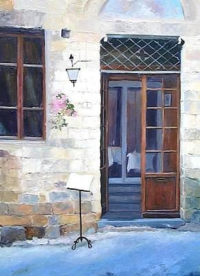 San Gimignano Painting - A Cafe In San Gimignano Tuscany by Jan Matson