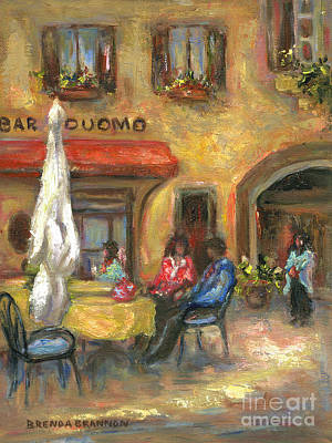 Espresso Painting - A Cafe In Tuscany by Brenda Brannon