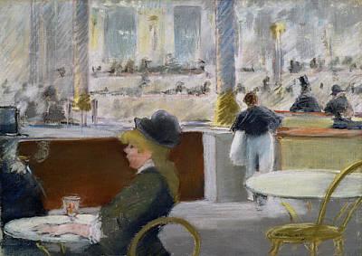 Parisian Drawing - A Cafe, Place Du Theatre Francais by Edouard Manet