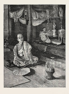 Religious Drawing - A Call To Worship Interior Of Buddhist Monastery by English School