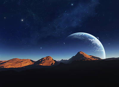 A Calming View From A Moon Orbiting Art Print