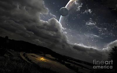 Digital Art - A Campfire In A Peaceful Night by Tobias Roetsch