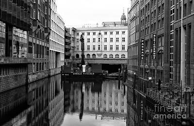Photograph - A Canal In Hamburg Mono by John Rizzuto