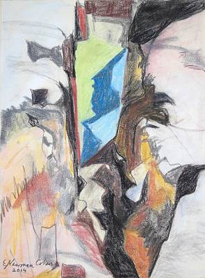 Drawing - A Canyon In Abstract by Esther Newman-Cohen
