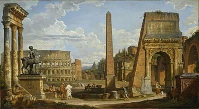 A Capriccio View Of Roman Ruins, 1737 Art Print by Giovanni Paolo Pannini or Panini