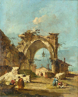 Francesco Guardi Painting - A Caprice With A Ruined Arch by Francesco Guardi