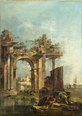 Francesco Guardi Painting - A Caprice With Ruins On The Seashore by Francesco Guardi