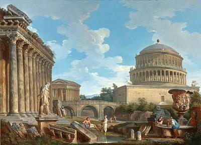 Giovanni Paolo Panini Painting - A Capricio Of Hadrian's Mausoleum by Giovanni Paolo Panini