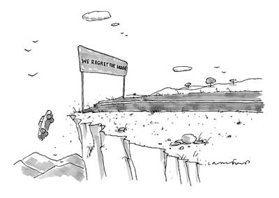 October 18th Drawing - A Car Has Driven Off A Desert Cliff by Michael Crawford