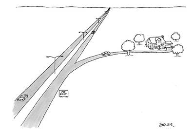 Mine Drawing - A Car Pulls Off A Highway by Jack Ziegler