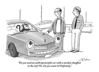 Smiling Drawing - A Car Salesman Gives A Pitch To A Prospective by Joe Dator