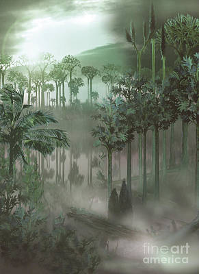 Lush Mixed Media Digital Art - A Carboniferous Forest With Mist Rising by Jan Sovak