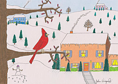 Drawing - A Cardinal Christmas by John Wiegand