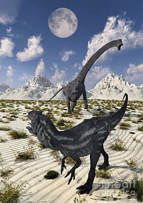 Triassic Digital Art - A Carnivorous Allosaurus Confronting by Mark Stevenson