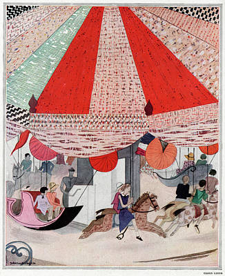 Carousel Drawing - A Carousel           Date 1930 by Mary Evans Picture Library