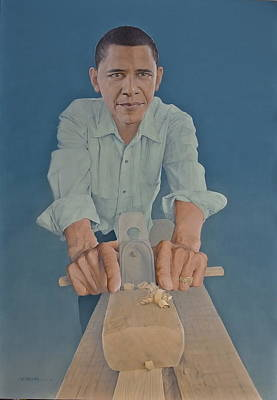 Barack Obama Oil Painting - A Carpenter Chinese Citizen Barack Obama  by Tu Guohong
