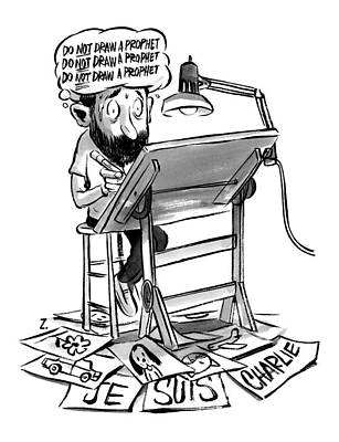 A Cartoonist Sits At His Desk Drawing. A Thought Art Print by Zohar Lazar