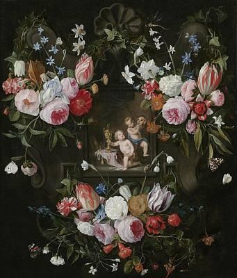 A Cartouche Still Life Of Flowers Art Print by Jan van & Balen, Hendrik van Kessel