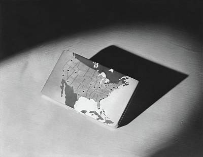 Photograph - A Case With A Map Of The United States Of America by Lusha Nelson