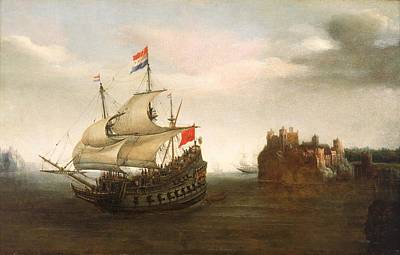 Painting - A Castle With A Dutch Ship Sailing Nearby by Hendrick Cornelisz Vroom
