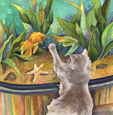 Goldfish Painting - A Cat And A Fish Tank by Anne Gifford
