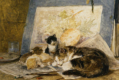 A Cat And Her Kittens Art Print by Henriette Ronner Knip