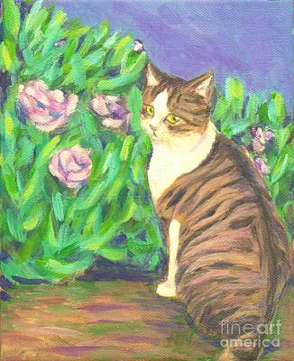 Art Print featuring the painting A Cat At A Garden by Jingfen Hwu