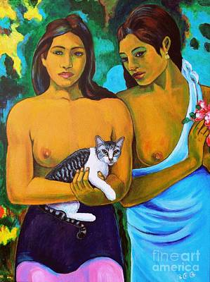 Painting - A Cat For Gauguin_ A Tahitian Feline by George I Perez