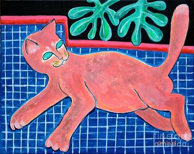 Painting - A Cat For Matisse_ Large Reclining Kitty by George I Perez