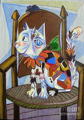 Painting - A Cat For Picasso_ Chat Et Souris by George I Perez