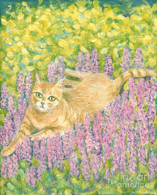 Art Print featuring the painting A Cat Lying On Floral Mat by Jingfen Hwu