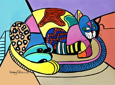 Cubists Digital Art - A Cat Named Picasso by Anthony Falbo