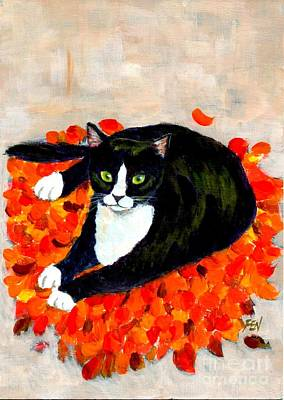 Black Cats Painting - A Cat On Fallen Leaf Mat  by Jingfen Hwu