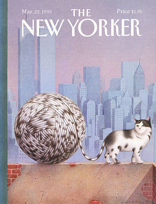 Wtc Painting - A Cat With A Ball Of String For A Tail by Gurbuz Dogan Eksioglu