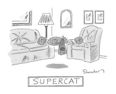 Sleeping Drawing - A Cat With A Cape Is Seen Sleeping And Levitating by Danny Shanahan